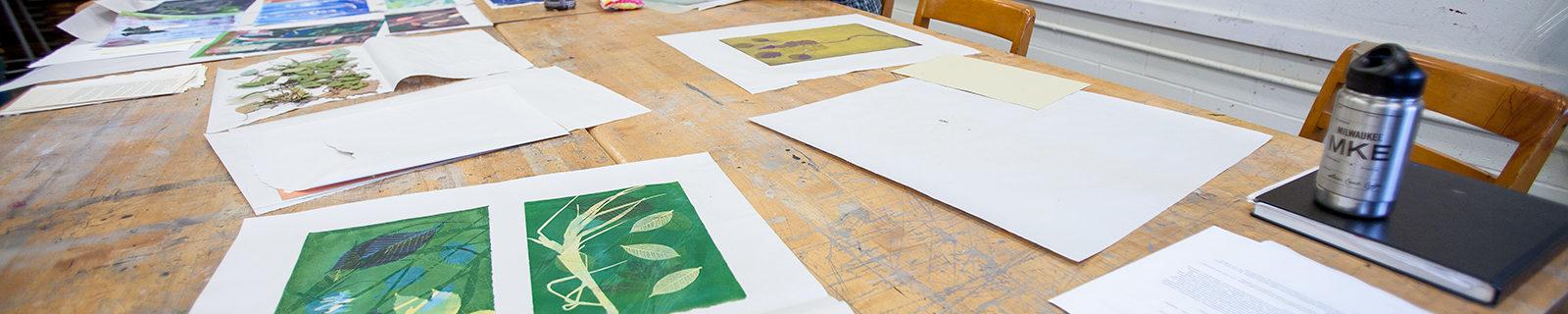 Prints in art classroom.