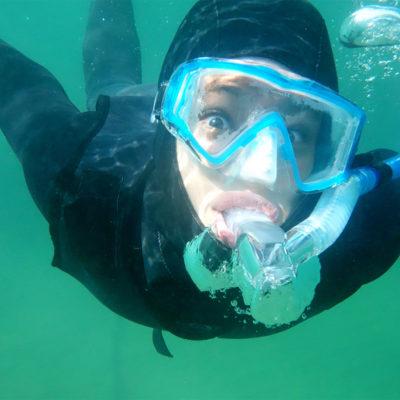 Student in scuba gear underwater