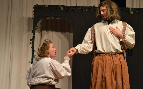Northland College students acting in play.
