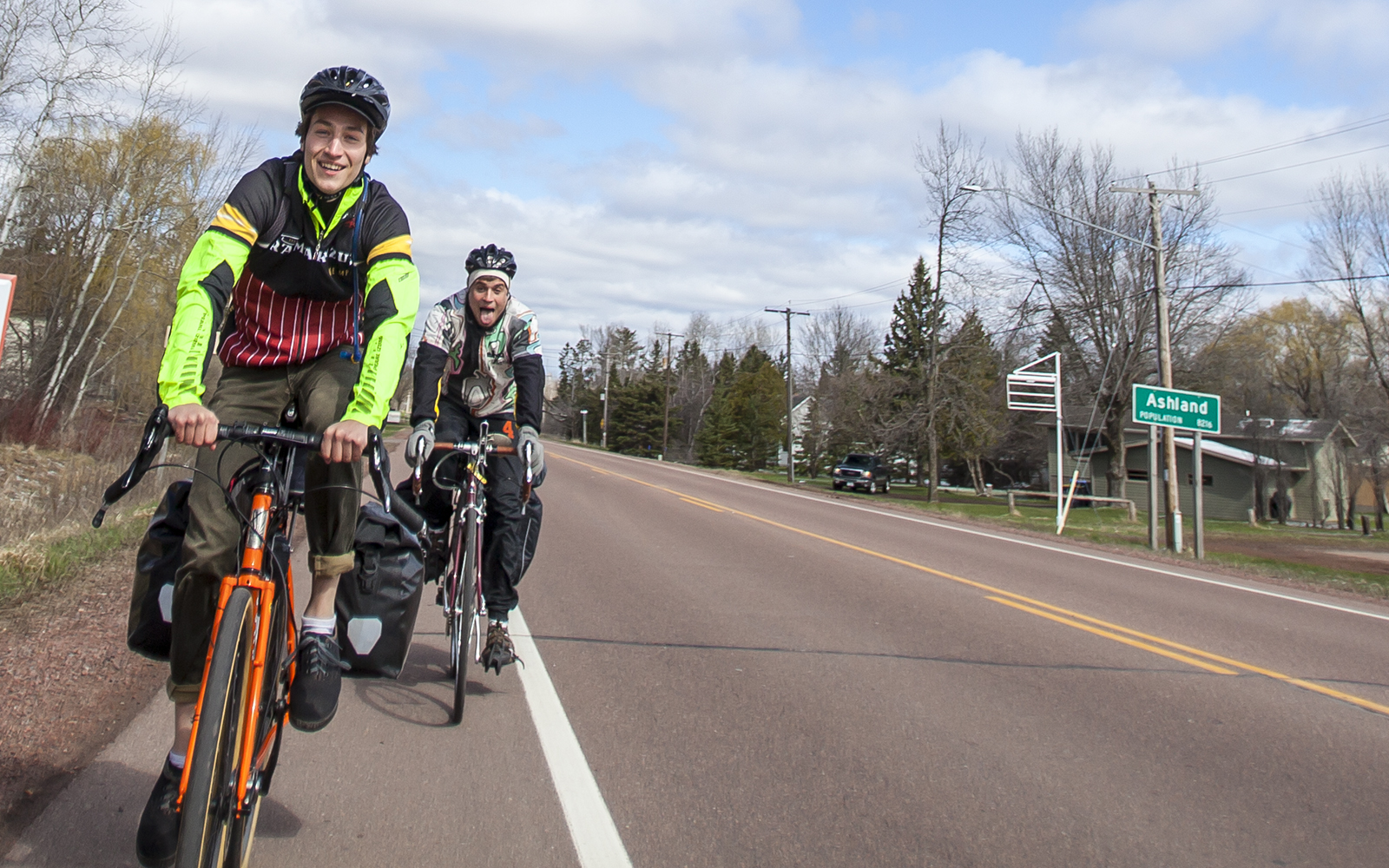Hal Welch and Patrick Shea ride outside of Ashland.