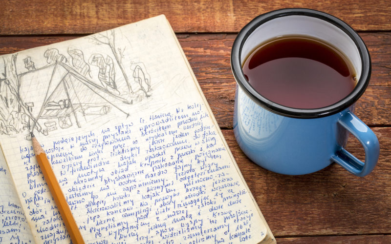 Writing journal and coffee mug