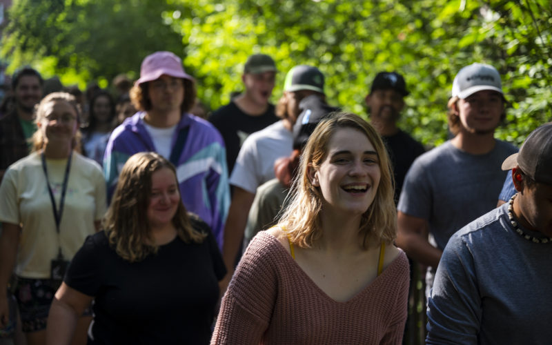Students walking across bridge