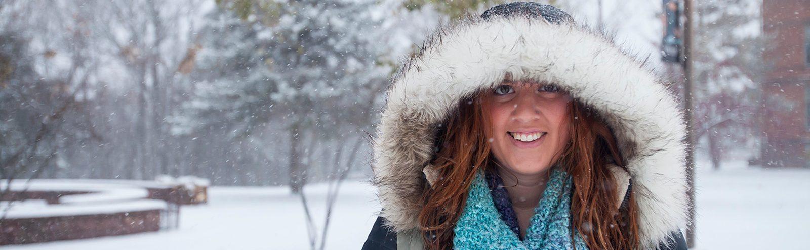 Smiling girl in snow
