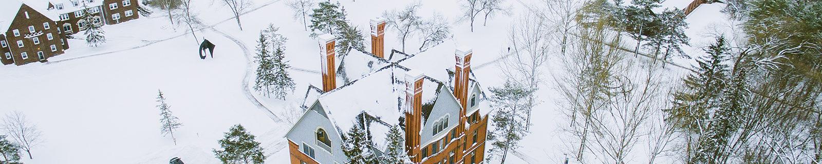 Northland College Winter Campus aerial view