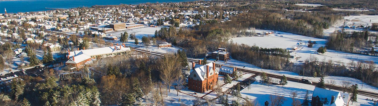 Northland College Winter Campus Ariel
