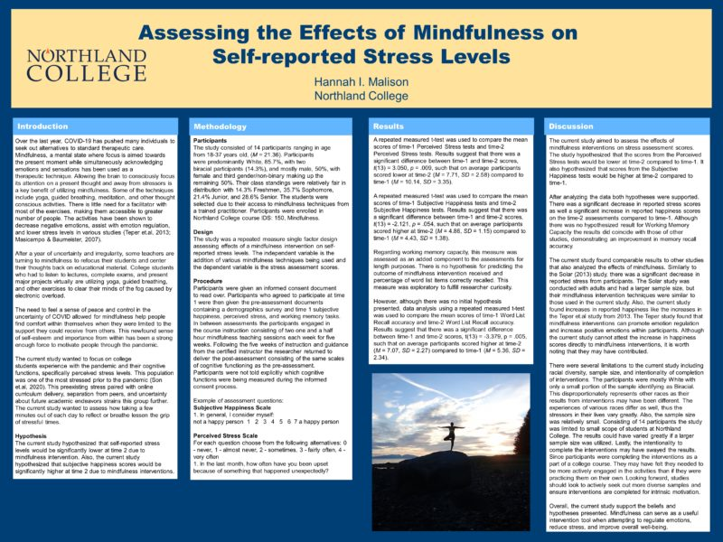 Assessing the Effects of Mindfulness on Self-reported Stress Levels